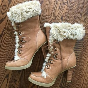 """REPORT """"Vail"""" Heeled Fur Boots 10"""